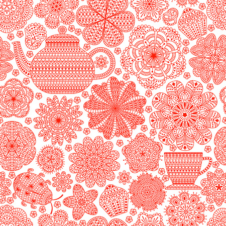 roll curtains: Seamless pattern with teapot, cup, saucer, muffins, floral elements and ladybug. Romantic flower background. Red color. Botanic texture. Detailed vector illustration.