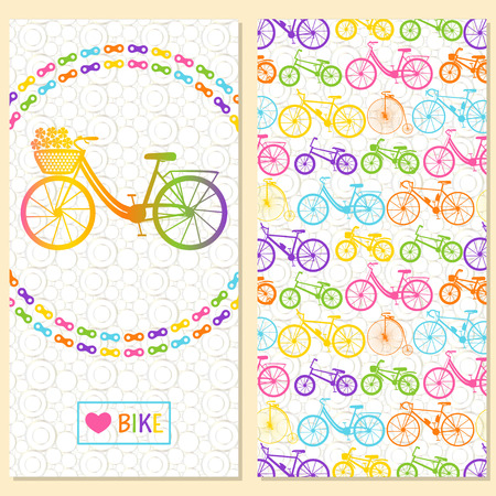 Invitation card with bike in the chain wreath, text love bike in rectangle frame. At the back six kinds of bicycles: mountain, road, city, bmx, kids and penny farting bikes. Background with circles. Illustration