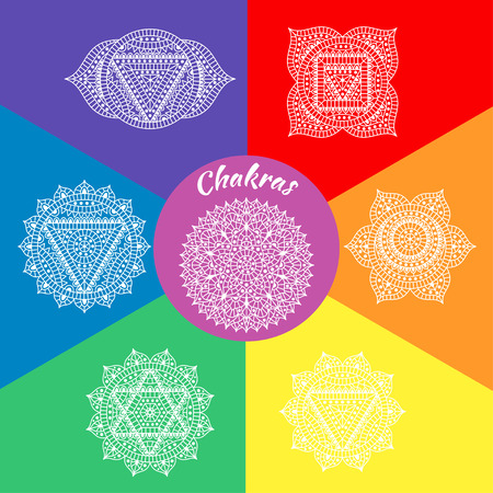 sahasrara: Set of seven chakras. Oriental ornaments for henna tattoo and for your design. Buddhism decorative elements. Vector illustration.