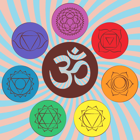 sanskrit: Chakra pictograms and symbol OM in the centre. Set of chakras used in Hinduism, Buddhism and Ayurveda. Elements for your design. Vector illustrations Illustration
