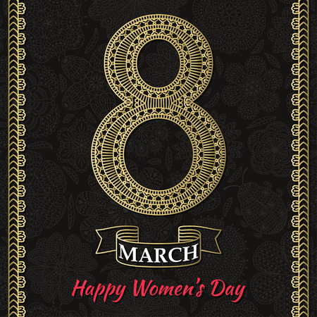figure of eight: Womens Day greeting card. Beautiful crochet golden figure eight, text March 8, Happy Womens Day, ornamental gold borders, ribbon, background with flowers and ladybug at the back. Vector illustration.