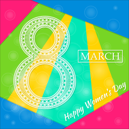 womens day: Womens Day greeting card. Beautiful crochet white figure eight, text March 8, Happy Womens Day, modern material design style at the background. Vector illustration. Illustration