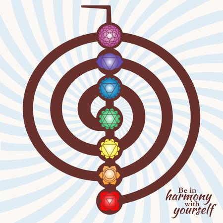 sacre coeur: Chakra pictogrammes sur le symbole choku rei. Ensemble de chakras utilis�s dans l'hindouisme, le bouddhisme et l'Ayurveda. �l�ments pour votre conception. Vector illustration