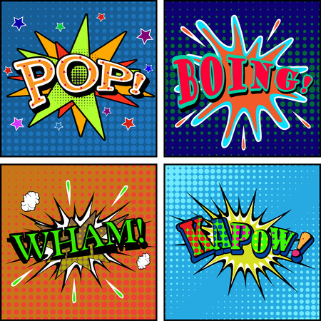 smack: Set of comic sound effects. Pop art style. Vector illustration. Illustration