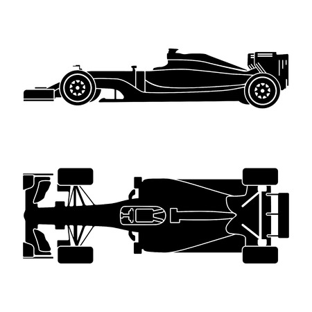 Silhouette of a racing car isolated on white background. Top view and side view. Vector illustration Vetores