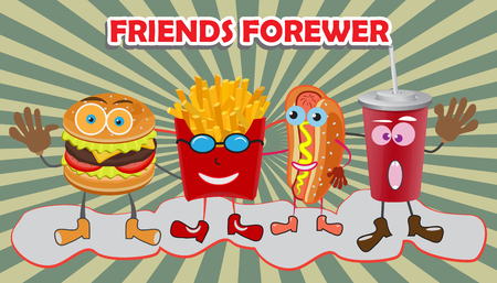 ready to eat: A group of friendly Fast Food meals. Smile concept. Vector illustration. Illustration