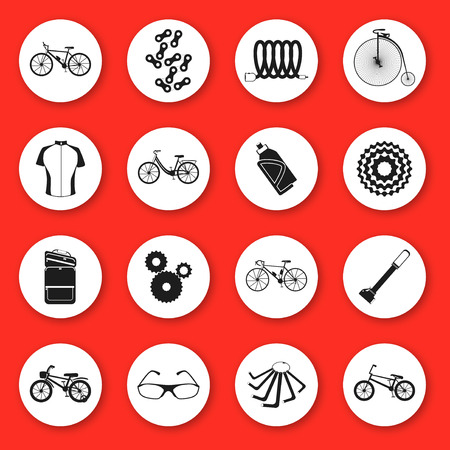 Set of silhouette icons. Six kinds of bicycles: mountain or cross-country bike, road bike, city bike, bmx bike, kids bike and penny farting bike or retro, vintage. And some bike accessories.