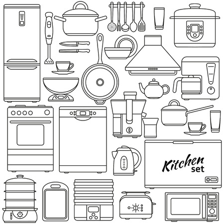 Set of line icons. Kitchen appliances. Oven and toaster, fridge and freezer, stove and dishwasher. Contour icons. Info graphic elements. Simple design. Vector illustration Ilustração