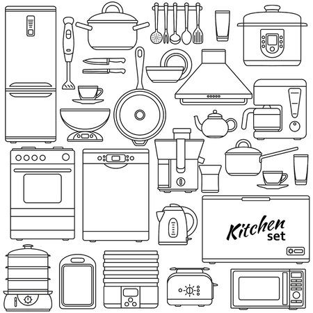 Set van lijn iconen. Keukenapparatuur. Oven en broodrooster, koelkast en vriezer, kookplaat en vaatwasser. Contour pictogrammen. Info grafische elementen. Eenvoudig ontwerp. vector illustratie