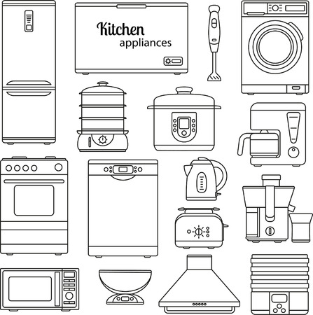 double boiler: Set of line icons. Kitchen appliances. Oven and toaster, fridge and freezer, stove and dishwasher. Contour icons. Info graphic elements. Simple design. Vector illustration Illustration