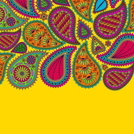 꽃 페이 즐 리 배경에 인도 ormament와 텍스트를위한 장소. 밝은 색상의 낭만적 인 디자인. 인사말 카드. 벡터 일러스트 레이 션. 스톡 콘텐츠 - 52985787