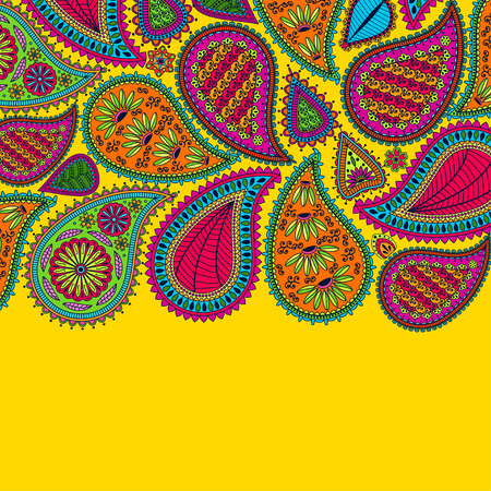 Floral paisley background with indian ormament and place for your text. Romantic design in bright colors. Greeting card. Vector illustration. Vettoriali