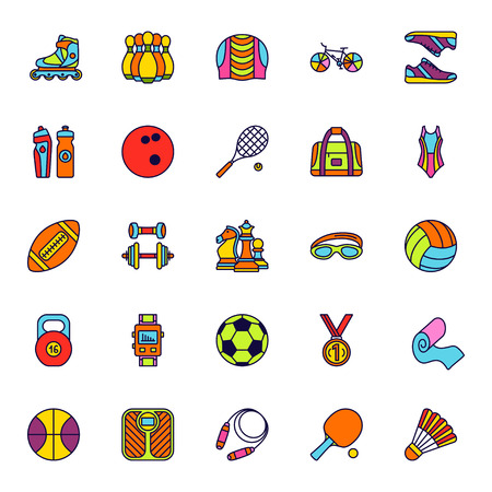 rugby: Set of line colored icon. Sport, fitness and recreation equipment. Contour colorful icons. Info graphic elements. Illustration