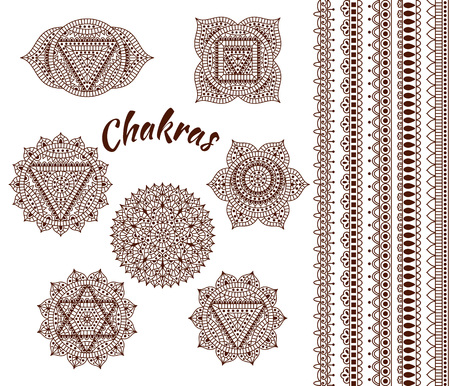 purple lotus: Set of seven chakras. Oriental ornaments and borders for henna tattoo and for your design. Buddhism decorative elements. Vector illustration. Illustration