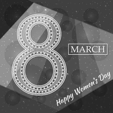 figure of eight: Womens Day greeting card. Beautiful crochet white figure eight, text March 8, Happy Womens Day, modern material design style at the background. Vector illustration. Illustration