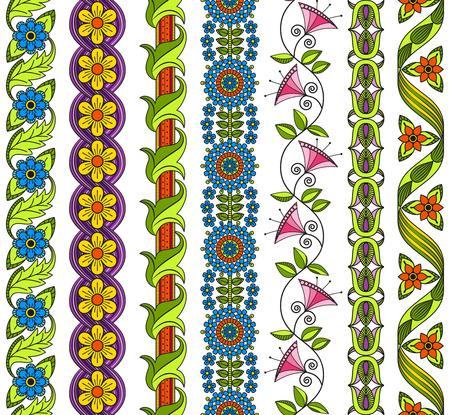 Vector ensemble d'éléments floraux pour décor ethnique. Seamless patterns pour cadres, bordures et arrière. motifs décoratifs détaillés. Couleurs vives.