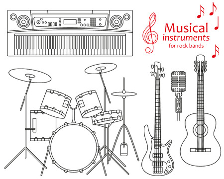 bass clef: Set of line icons. Musical instruments for rock bands. Info graphic elements. Simple design. Good for coloring books. Vector illustration
