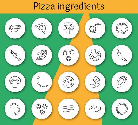 Set di ingredienti per la pizza in stile di linea. Illustrazione vettoriale. Info elementi grafici.