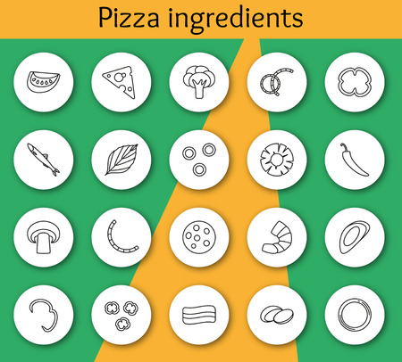 anchovy: Set of ingredients for pizza in line style. Vector illustration. Info graphic elements. Illustration