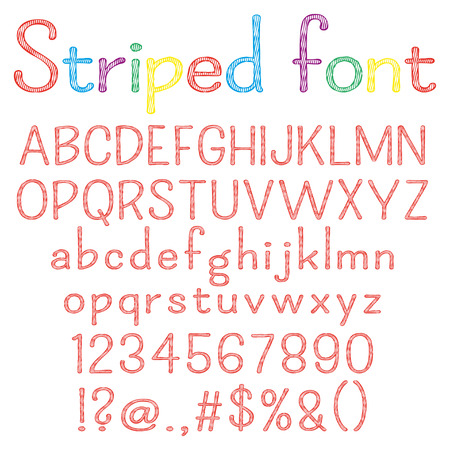 punctuation marks: Spriped font. Alphabet, numbers, punctuation marks. One letter, one compound path. Easy to change colors for your design.