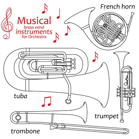 orquesta: Conjunto de iconos de líneas. instrumentos de viento de latón musicales para orquesta. elementos gráficos de información. Diseño simple. Bueno para libros para colorear. ilustración vectorial