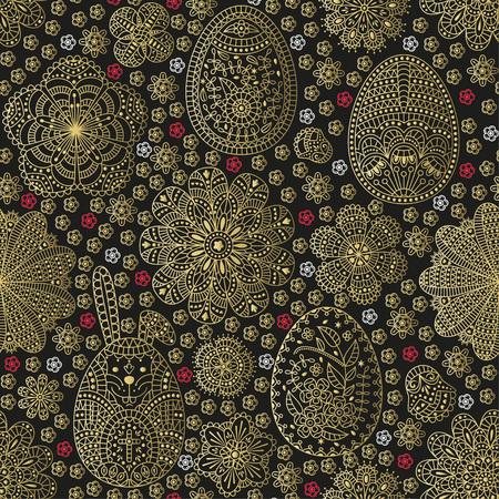 Patrón sin fisuras con huevos de Pascua y conejo de Pascua blanco. Diseño dorado. Ilustración del vector.