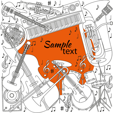 bass: Musical background with different musical instruments, treble clef and notes. Black, orange and white colors. Set of line icons in music theme. Good for coloring books. Text place. Vector illustration