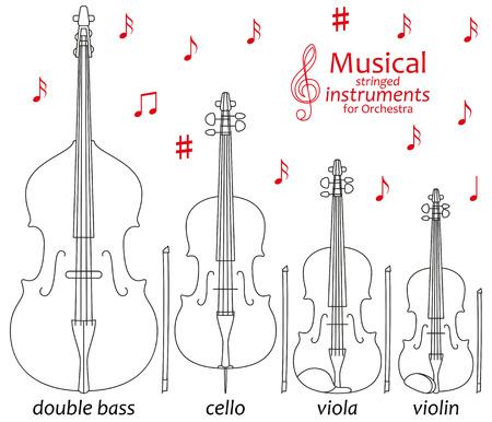線のアイコンのセットです。管弦楽のための音楽の弦楽器。情報グラフィックの要素。シンプルなデザイン。書籍を着色に適しています。ベクトル