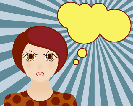 manga style: Angry woman face. Manga style. Comic girl with speech bubble for your text. Brown hair and brown eyes. Radiant blue background. Vector illustration. Illustration