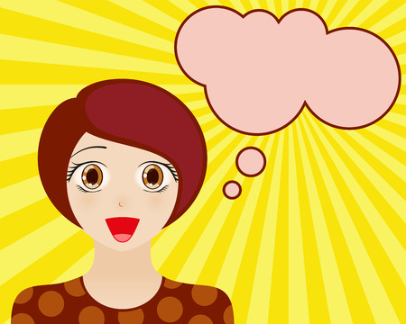 manga style: Happy woman face with open mouth. Manga style. Comic girl with speech bubble for your text. Brown hair and brown eyes. Radiant blue background. Vector illustration. Illustration
