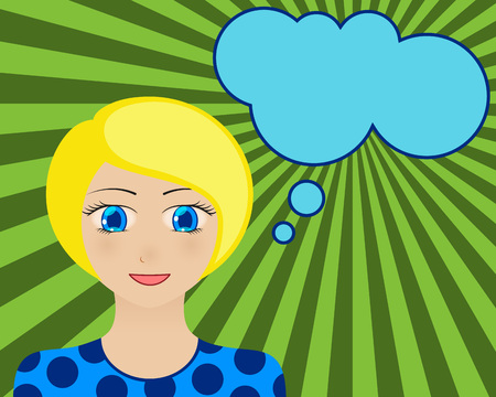 manga style: Smiling woman face. Manga style. Comic girl with speech bubble for your text. Blond hair and blue eyes. Radiant orange background. Vector illustration.