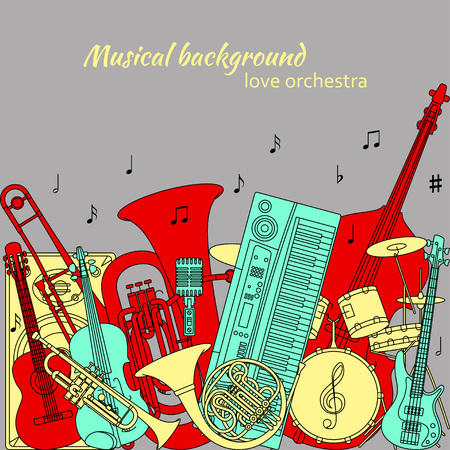 Musical background made of different musical instruments, treble clef and notes. Red, yellow, turquoise and gray colors. Set of line icons in music theme. Good for coloring books. Vector illustration. 矢量图像