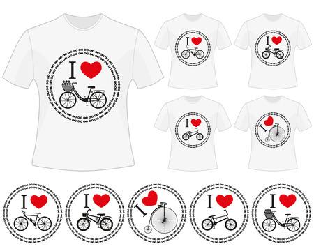 bmx bike: Cycling vector labels for t-shirt design. Set of prints in bike theme. Isolated black silhouettes of mountain bike, kids bike, retro bike, city bike and BMX bike in chain circles. I love bike.