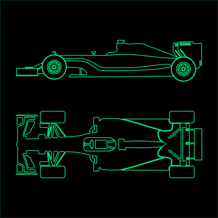 one: Formula car, linear light silhouette of a racing car isolated on black background. Top view and side view. Vector illustration Illustration