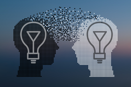 two minds: Teamwork and Leadership with education symbol represented by two human heads shaped with gears and lamp representing the concept of intellectual communication through technology exchange and ideas. Illustration