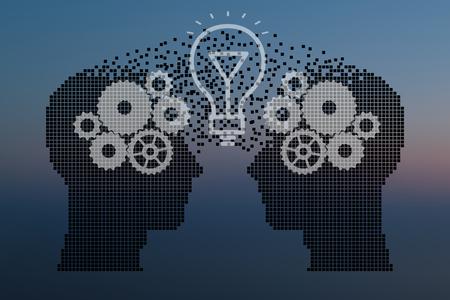 mente humana: El trabajo en equipo y liderazgo con educación símbolo representado por dos cabezas humanas en forma de engranajes y la lámpara que representa el concepto de comunicación intelectual mediante el intercambio de ideas y la tecnología.
