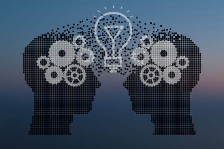 Teamwork and Leadership with education symbol represented by two human heads shaped with gears and lamp representing the concept of intellectual communication through technology exchange and ideas.