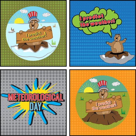 predict: Cards for Meteorological Day. Groundhog predict the weather. Congratulations to the end of winter and beginning of spring. Comics set. Vector illustration.