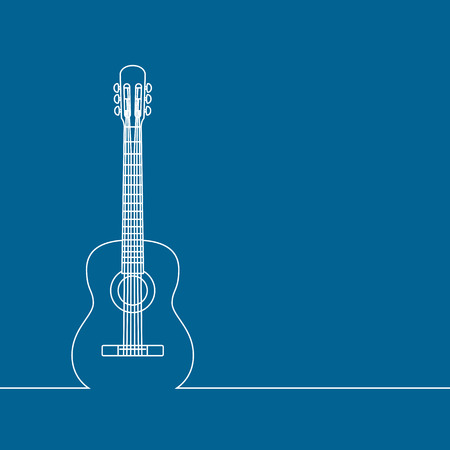 Musical background, linear design, classic guitar. Place for your text, concept for bards and artists. Vector illustration.