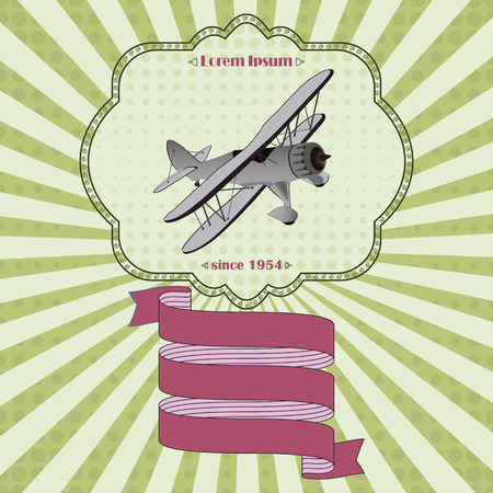 dragging: Funny vintage wedding invitation with retro aircraft dragging cans. Place for custom text.