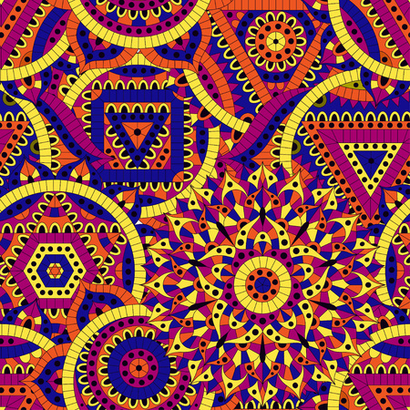 Seamless pattern with seven chakras. Oriental ornaments for banners, cards and or for your design. Buddhism decorative elements. Yellow, orange and blue colors. Vector illustration.