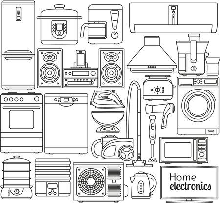 double boiler: Set of line icons. Home appliances. Oven and toaster, fridge and freezer, stove and dishwasher. Contour icons. Info graphic elements. Simple design. Isolated on the white. Vector illustration Illustration