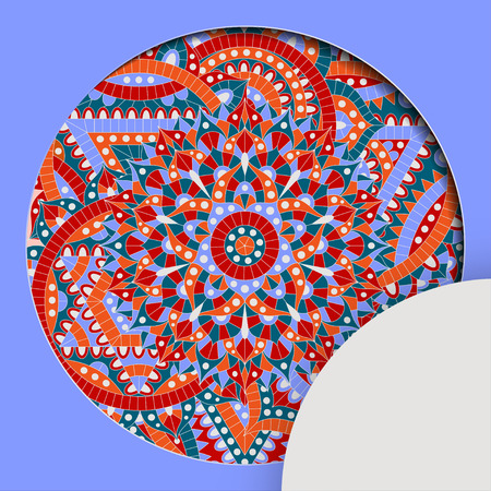 Round pattern with chakra manipura and text place. Oriental ornaments for banners, cards and for your design. Buddhism decorative elements. Red, orange and blue colors. Vector illustration. Illustration