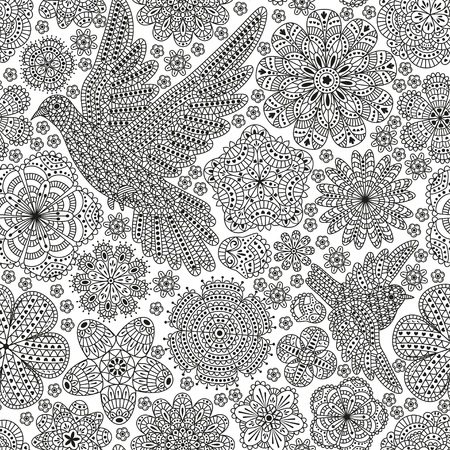 Seamless pattern with creative birds and flowers. Decorative dove and sparrow. Good for wrapping, coloring books, cards, etc. Black and white colors. Vector illustration.