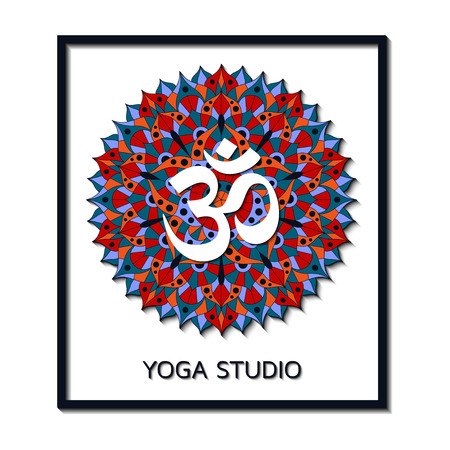 third eye: Yoga studio business template with chakra pictogram. Vector illustration. Illustration