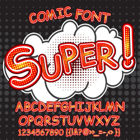 Alphabet collection set. Comic pop art style. Letters, numbers and figures for kids' illustrations, websites, comics, banners. Çizim