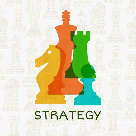 Colorful chess pieces on abstract background with chess. Strategy concept. Vector illustration