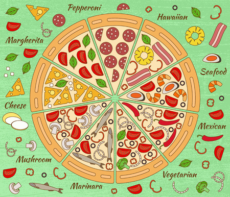 anchovy: Background with pizza pieces and its ingredients. Vector illustration Illustration