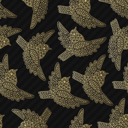 sparrows: Seamless pattern with creative sparrows. Vector illustration.