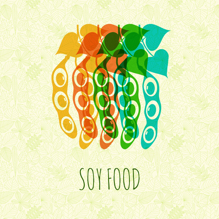 soy free: Soybeans on abstract background with leaves. Vector illustration.